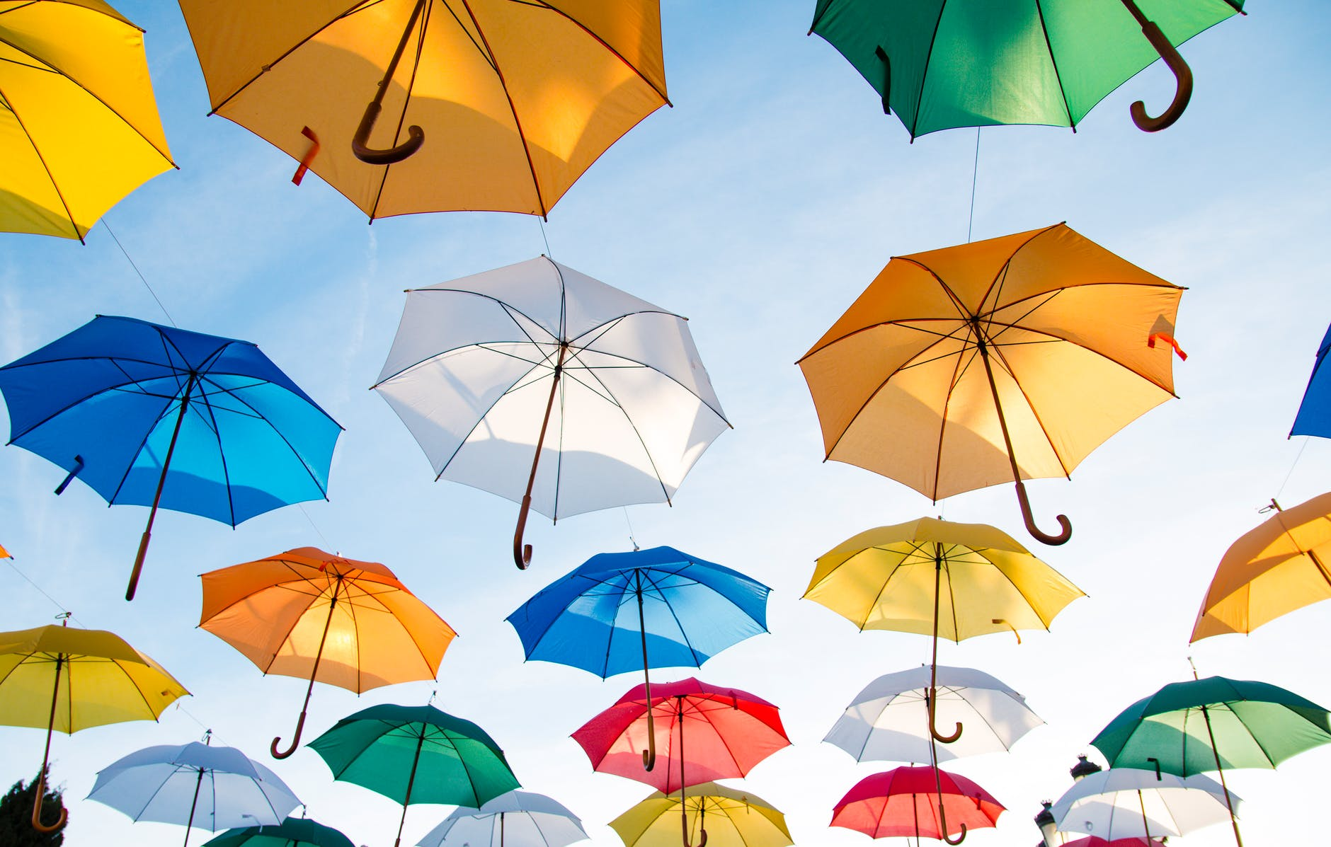 assorted color straight umbrella hanging on black wire